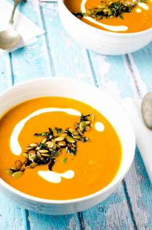 Harissa Butternut Squash Soup with Pumpkin Seeds and Crispy Mint Leaves