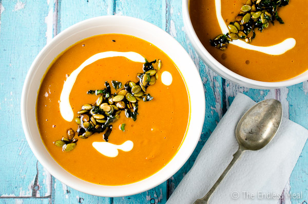 Spicy Harissa and Roasted Butternut Squash Soup-with-Toasted-Pumpkin-Seeds-and-Crispy-Mint-Leaves-600-4