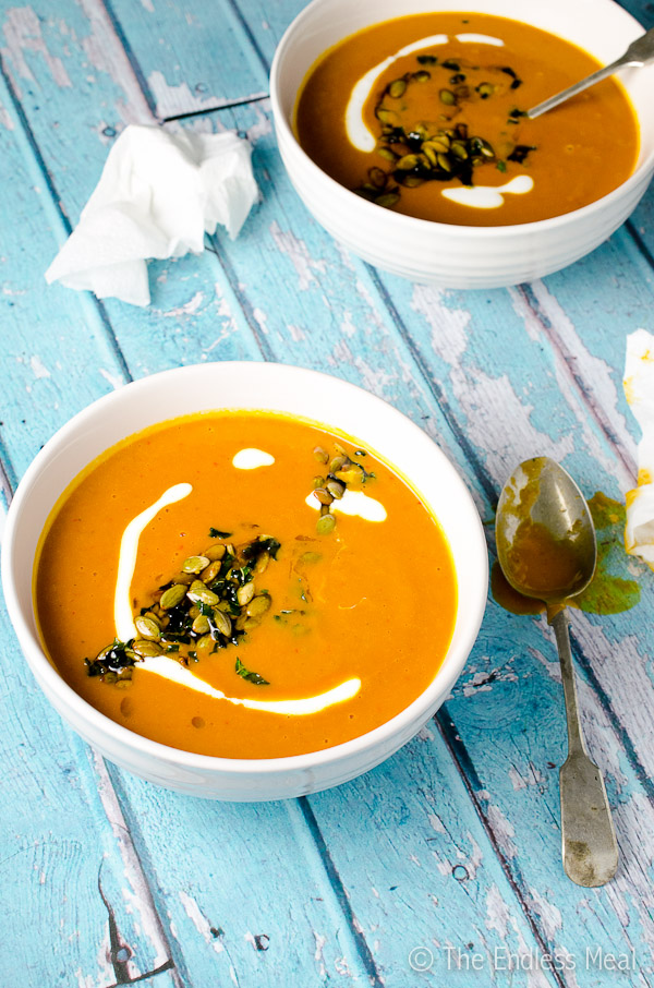 Spicy Harissa and Roasted Butternut Squash Soup-with-Toasted-Pumpkin-Seeds-and-Crispy-Mint-Leaves-600-5