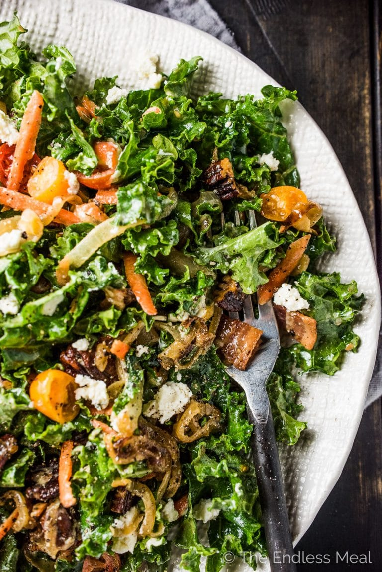 Of all the salads I've tried, I think this is The Best Kale Salad. It's loaded with crispy bacon, toasted pecans, sweet tomatoes, and creamy avocado and Boursin cheese. There are also some caramelized onions in here, which might sound a bit strange, but taste incredible. You will LOVE it! | theendlessmeal.com | #kale #kalesalad #salad #healthyrecipes #saladrecipes
