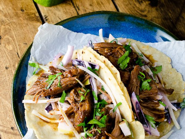 Pulled Pork Tacos with Chayote Squash and Apple Slaw