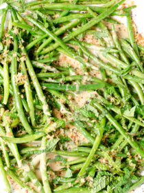 Green Beans and Mint with Crispy Browned Butter Panko and Tahini Maple Dressing