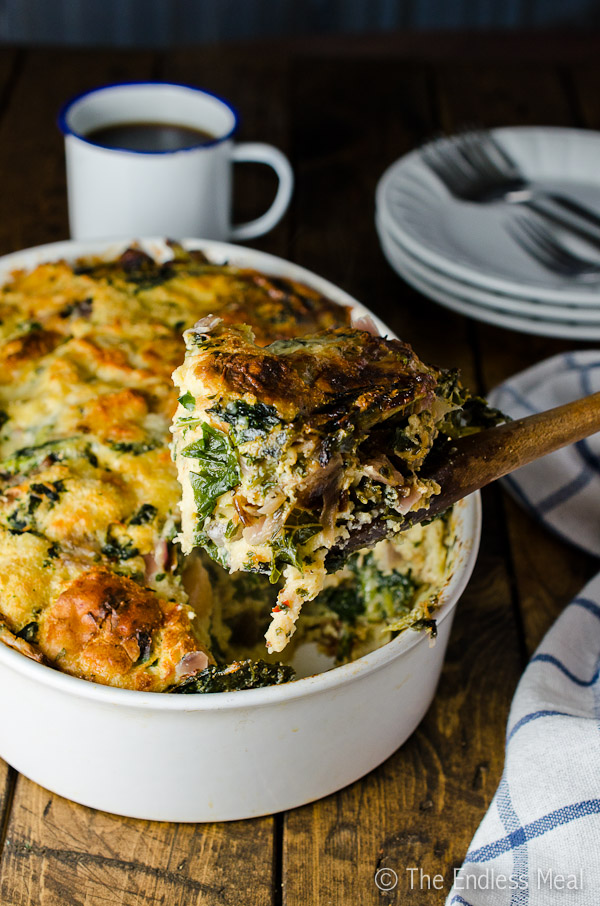 Gruyère White Cheddar and Kale Strata {aka: the best eggy cheesy bread-y thing ever}