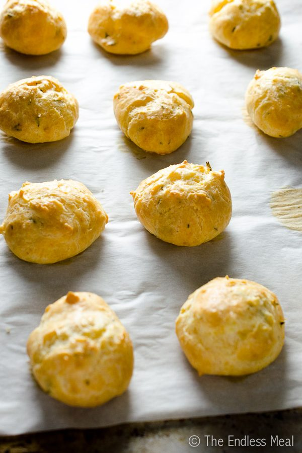 White Cheddar and Thyme Gougères with Smoked Sea Salt