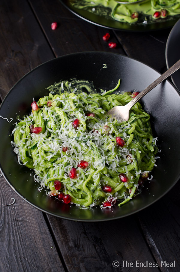 Zucchini Pasta with Kale Pesto Pistachios and Pomegranate