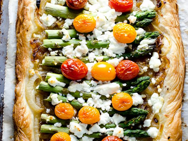 Asparagus Goat Cheese and Cherry Tomato Breakfast Tart