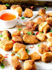 Coconut Crusted Salmon Bites with Sweet Chili Sauce
