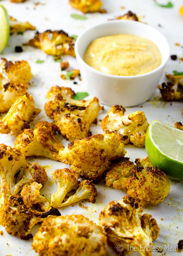Curried Lime Cauliflower Bites with Curry Mayo