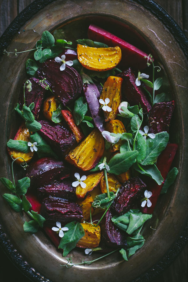 Sunday Supper :: 01.11.14 :: Roasted Beet Salad with Pea Shoots {paleo}