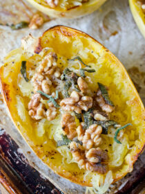 Roasted Spaghetti Squash with Brown Butter and Walnuts