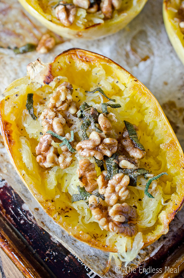 Roasted Spaghetti Squash with Brown Butter, Sage and Walnuts