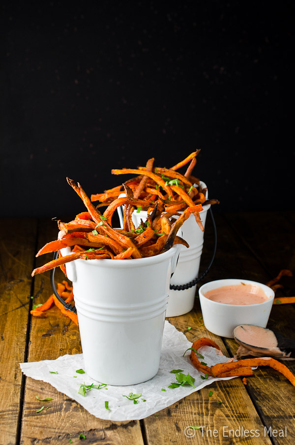 Skinny Sweet Potato Harissa Fries with Harissa Mayo