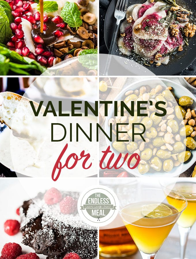 A collage of the 6 recipes that are in this Valentine's Dinner Menu for Two.