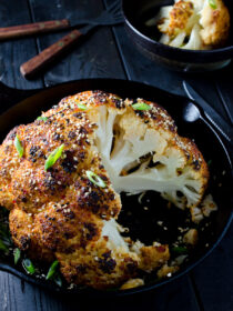 Whole Roasted Sesame Ginger Cauliflower