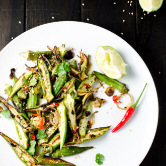 Sir Fried Okra with Garlic, Chilies and Lime