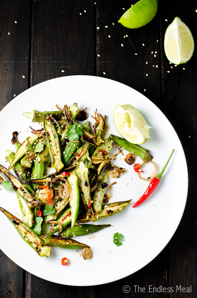 Stir Fried Okra with Garlic, Chilies and Lime