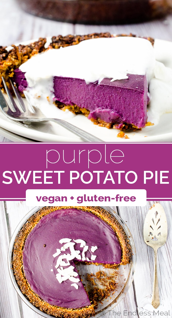 SAVE FOR LATER! Vegan Purple Sweet Potato Pie is as delicious as it is pretty. It's made with purple yams which give it a totally natural bright purple color. It's a showstopper! #theendlessmeal #pie #sweetpotatopie #purplepie #veganpie #vegan #glutenfree #thanskgiving #easter #christmas