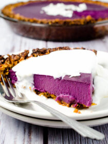 Vegan Purple Sweet Potato Pie with Coconut Almond Crust {paleo + gluten free too!}
