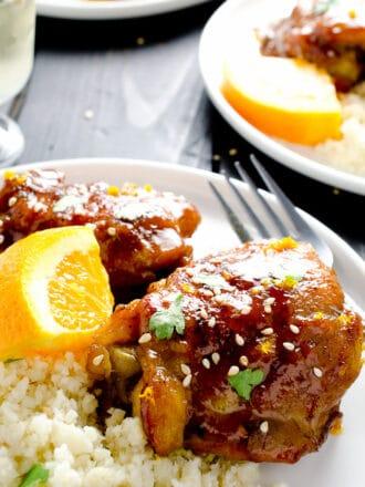 Paleo Orange Chicken with Cauliflower Rice