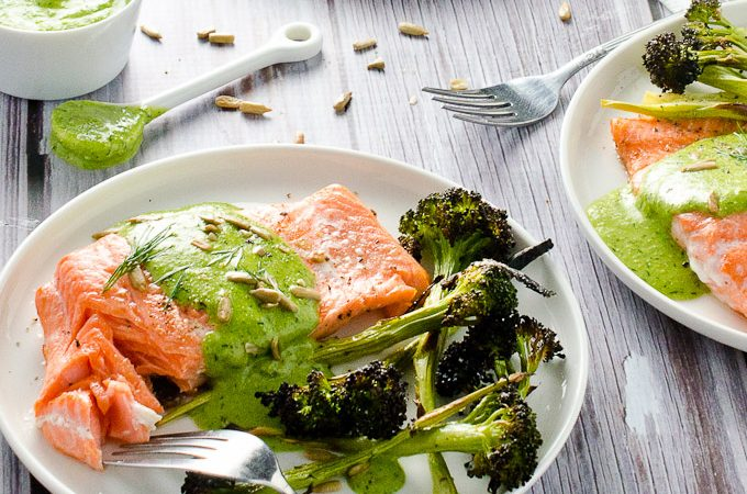 Pan Seared Salmon with Creamy Sunflower Dill Pesto {dairy free + paleo}