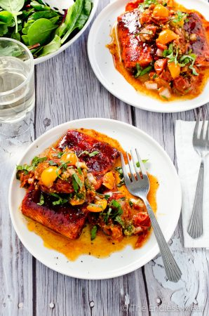 Sweet and Smoky Baked Salmon with Roasted Tomato Salsa