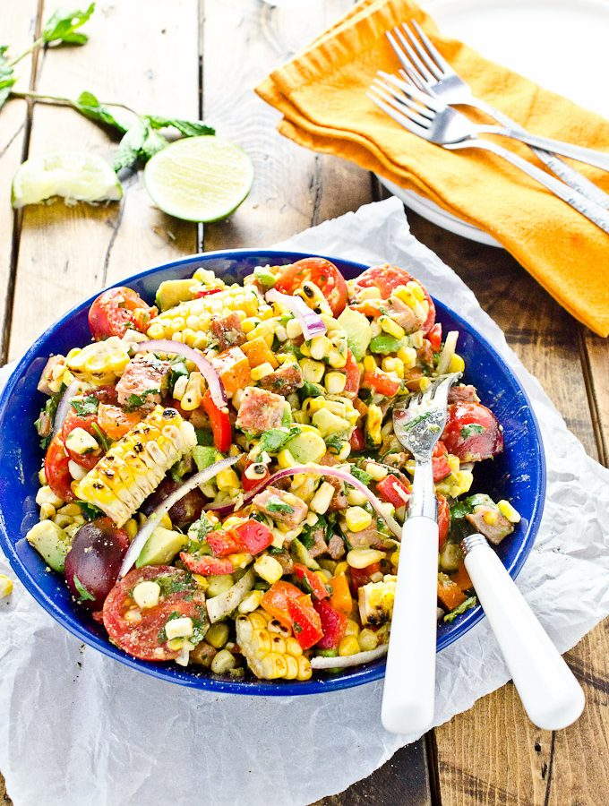 Grilled Corn Salad with BBQ Farmers Sausage