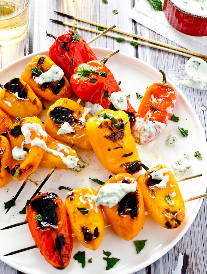 Grilled Mini Peppers with Minty Tzatsiki