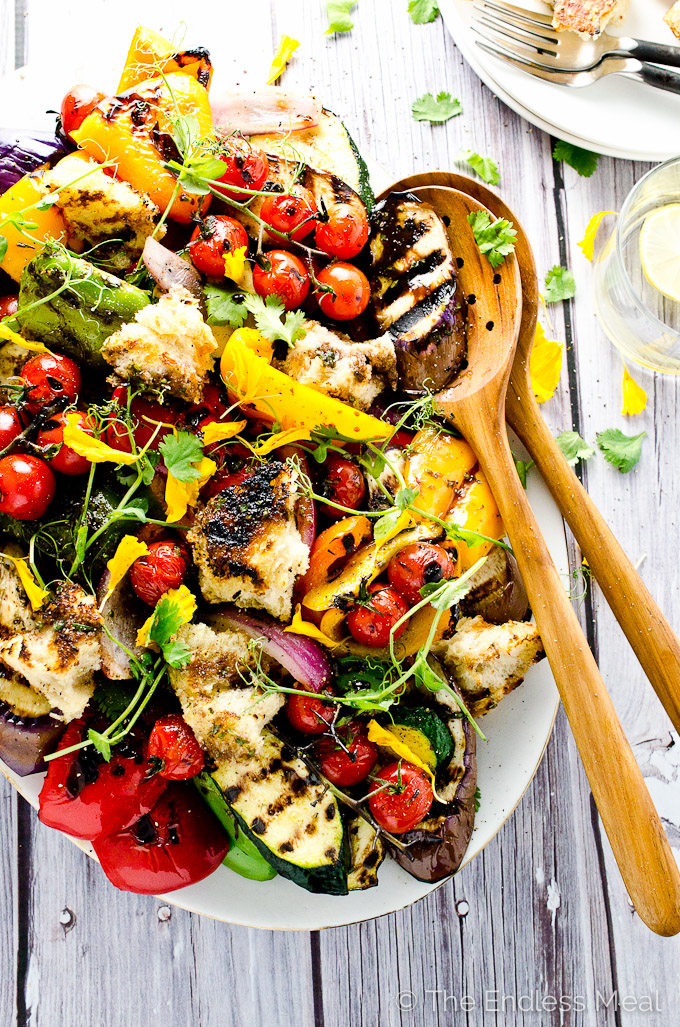 Grilled Vegetable Salad with Giant Hot Croutons is a delicious and easy to make side dish. It's naturally vegan and can easily be made gluten-free :: theendlessmeal.com