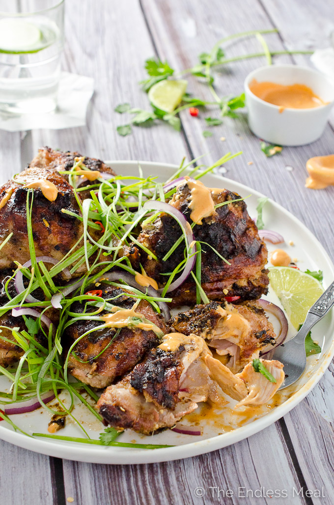 Lemongrass Grilled Chicken with Sriracha Mayo