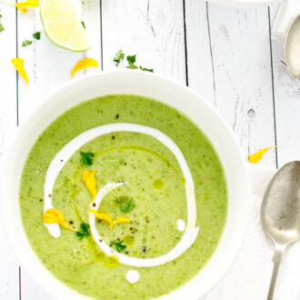 Green gazpacho is super refreshing and perfect for a hot summer's day. It's also naturally vegan + paleo! :: theendlessmeal.com