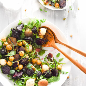 Maple Roasted Beet Salad with Pistachio Dust Goat Cheese | theendlessmeal.com