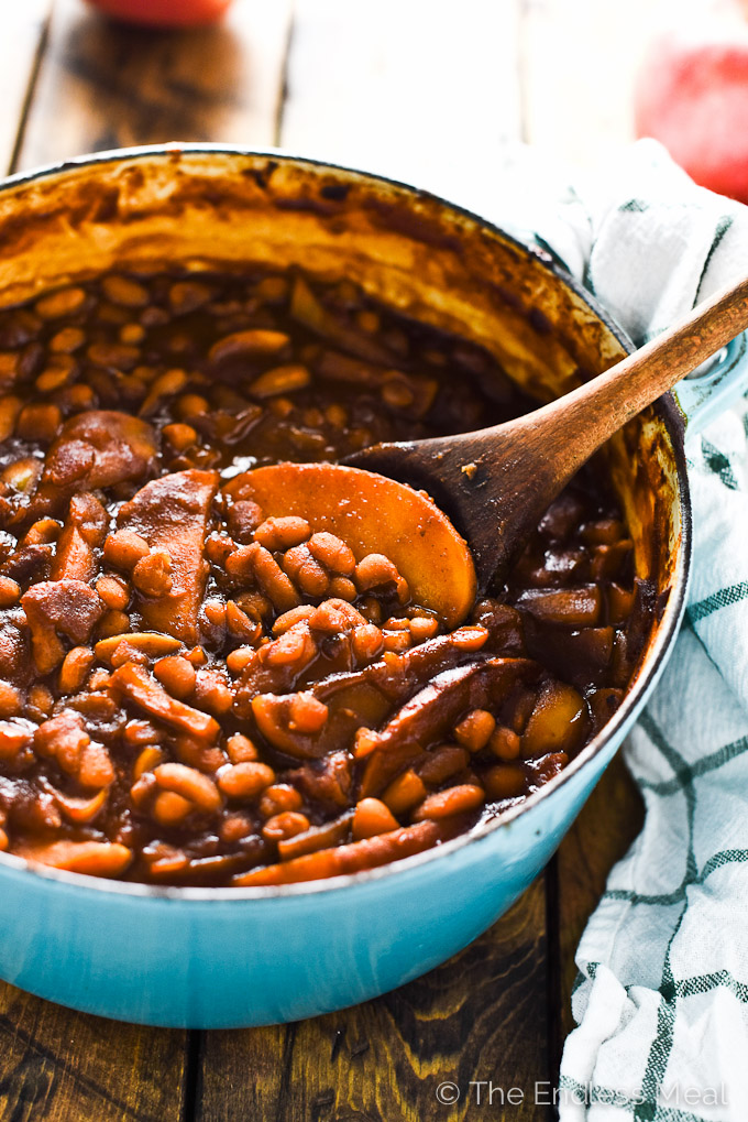 Sweet Apple Bourbon Baked Beans | theendlessmeal.com