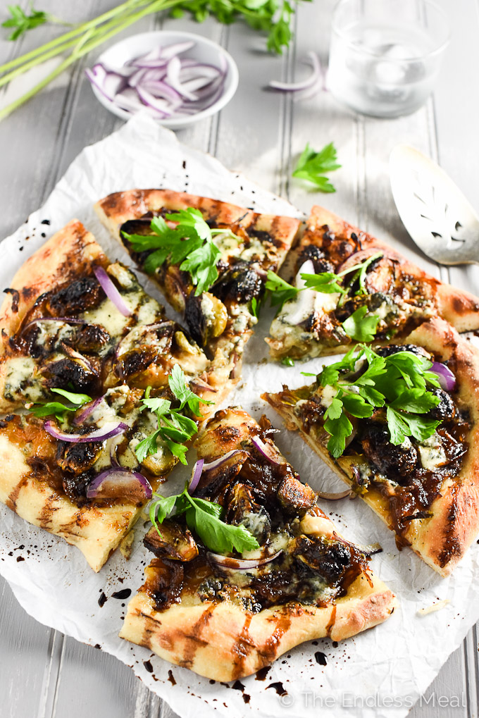Blue Cheese and Roasted Brussels Sprouts Pizza | The most delicious pizza and the best way to use your leftover Thanksgiving and Christmas Brussels! | theendlessmeal.com