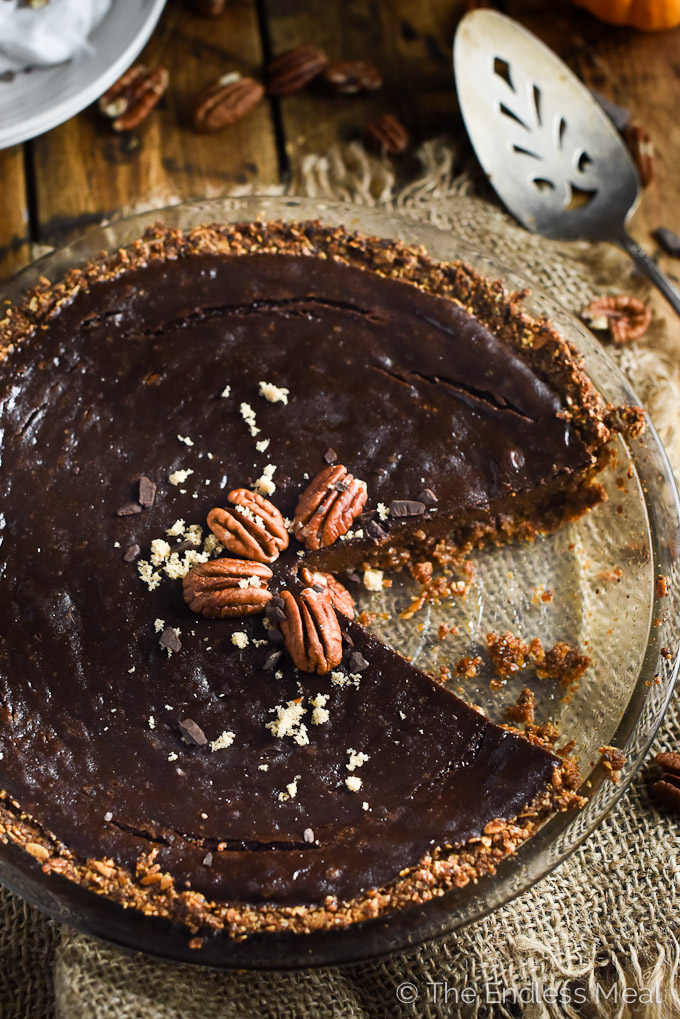 Chocolate Vegan Pumpkin Pie | This pumpkin pie is made with silken tofu instead of eggs for a silky and delicious Thanksgiving dessert. | theendlessmeal.com