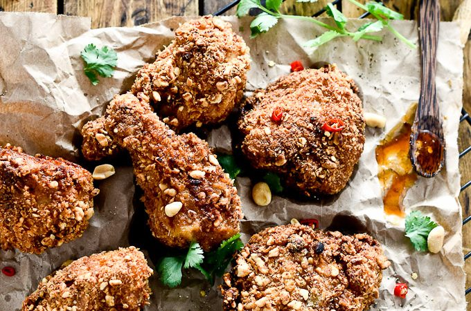 Coconut Oil Fried Peanut Chicken with Thai Honey Butter | this absolutely addictive fried chicken is surprisingly healthy | theendlessmeal.com