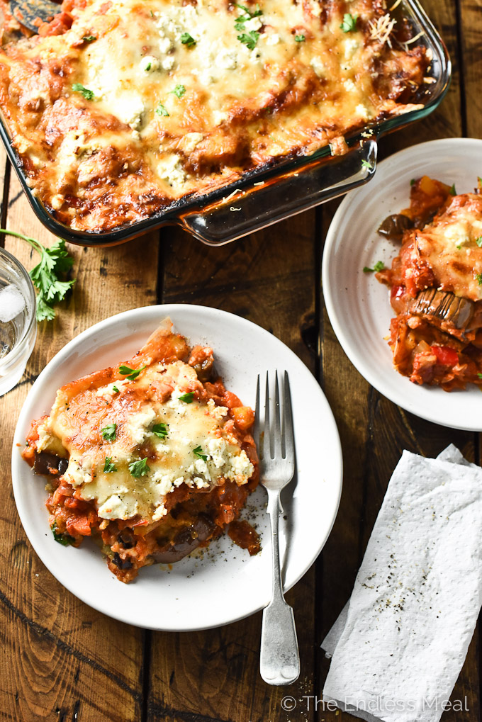 Easy vegetarian eggplant parmesan the endless meal cheesy vegetarian eggplant lasagna an easy to make and super delicious meatless monday dinner forumfinder Images