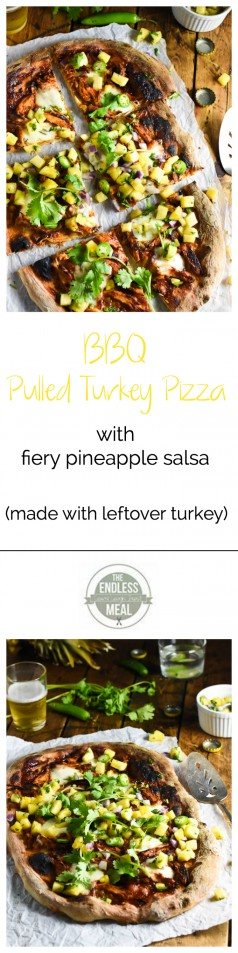 BBQ Pulled Turkey Pizza with Fiery Pineapple Salsa