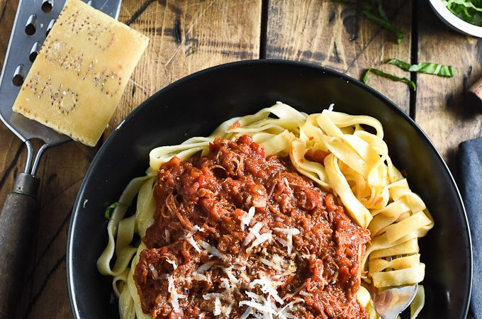 Crock Pot Leftover Turkey Bolognese | A super easy and crazy delicious way to use your leftover Thanksgiving or Christmas turkey. | theendlessmeal.com