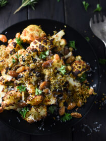 Blackened Cauliflower with Rosemary Garlic Panko