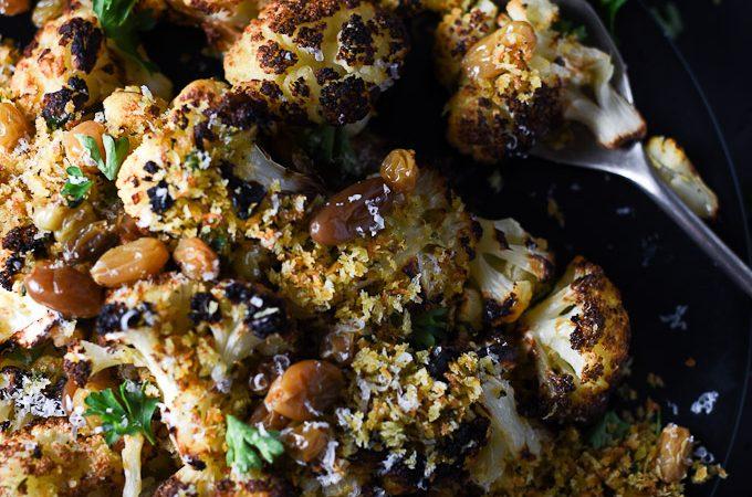 Blackened Cauliflower with Rosemary Garlic Panko