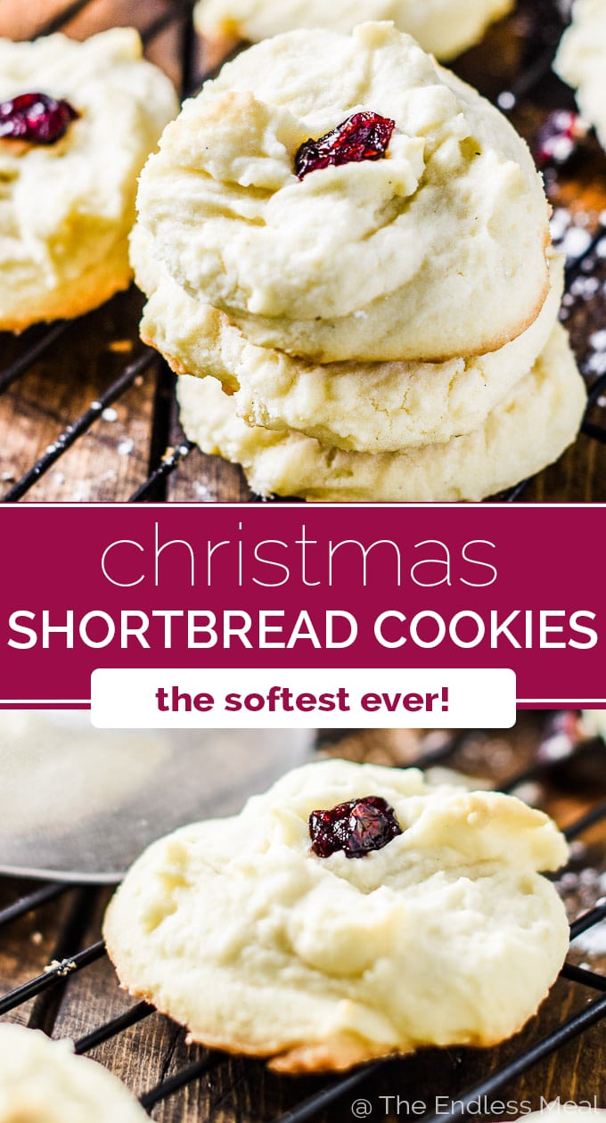 SAVE FOR LATER! These are the shortbread cookies my mom has made for Christmas every year since I was a child. They literally melt in your mouth. You will LOVE them! #theendlessmeal #cookies #christmas #christmascookies #shortbread #shortbreadcookies #christmasbaking
