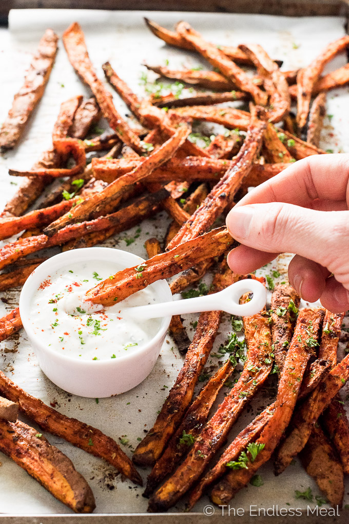 Cajun Sweet Potato Fries with Blue Cheese Yogurt | theendlessmeal.com