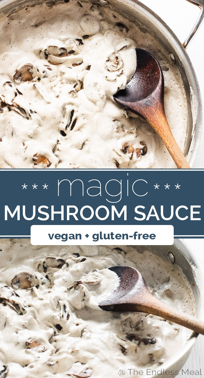 SAVE FOR LATER! This mushroom sauce is pure magic. It tastes likes it has an entire container of whipping cream in it, yet it's 100% dairy-free vegan. It's made with a secret ingredient that makes it super creamy and decadent. #theendlessmeal #mushrooms #mushroomsauce #mushroomsoup #vegan #dairyfree #glutenfree #sauce #healthyrecipes