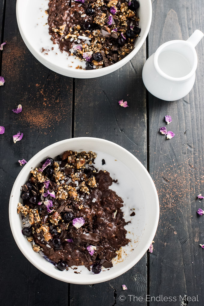 Coconut Triple Chocolate Oatmeal with Chia Power Crunch Clusters | theendlessmeal.com