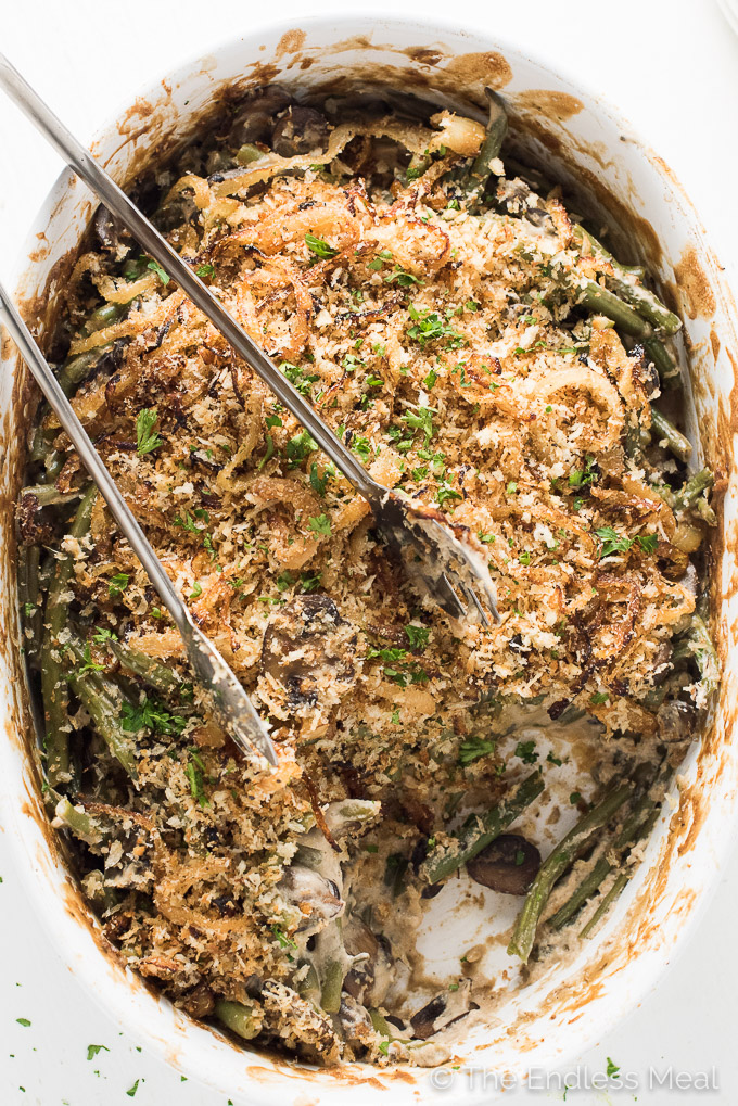 Healthy Vegan Green Bean Casserole | theendlessmeal.com