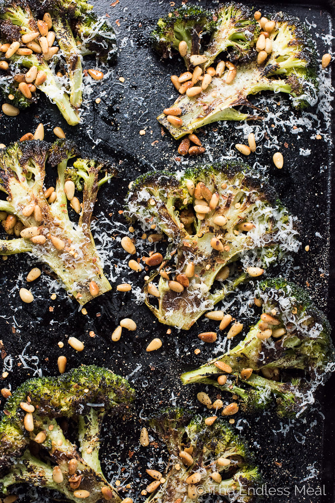 Roasted Broccoli Steaks with Butter Toasted Pine Nuts | theendlessmeal.com
