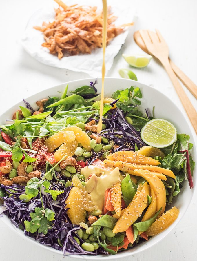 Thai Chopped Salad with Sweet Sesame Mango Dressing and Crispy Wontons | theendlessmeal.com