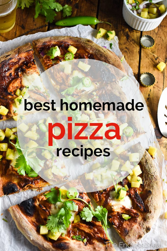 A picture of a pizza with the words Best Homemade Pizza Recipes written on top.
