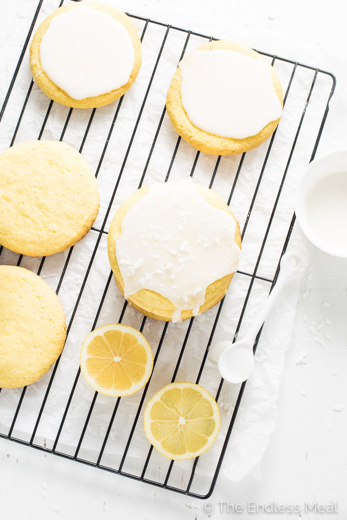Glazed Coconut Lemon Sugar Cookies | theendlessmeal.com