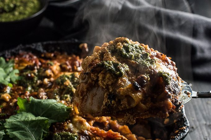 Easy Vegetarian Skillet Lasagna with Kale Olive Pesto | theendlessmeal.com